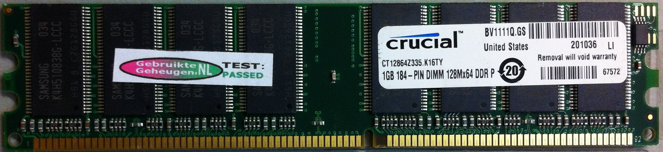 1GB DDR PC2700 CL2.5