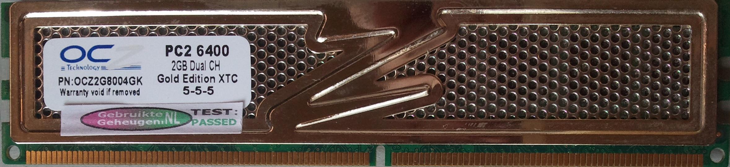 OCZ 2GB DDR2 PC2-6400U 800MHz