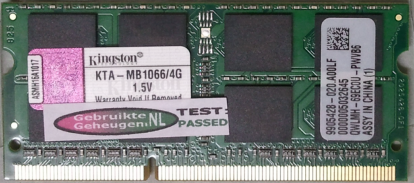 Kingston 4GB DDR3 PC3-8500S 1066MHz