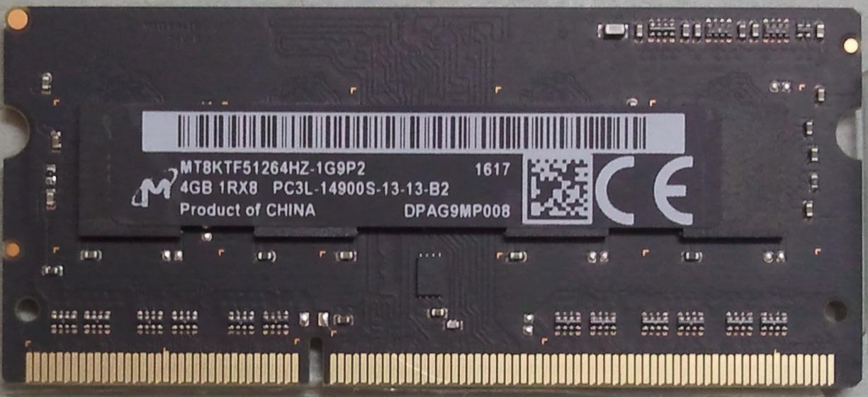 4GB 1Rx8 PC3L-12800S-13-13-B2