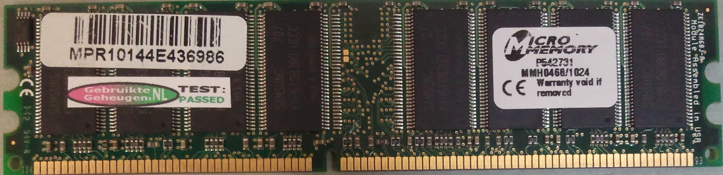 MicroMemory 1GB DDR PC3200U 400MHz