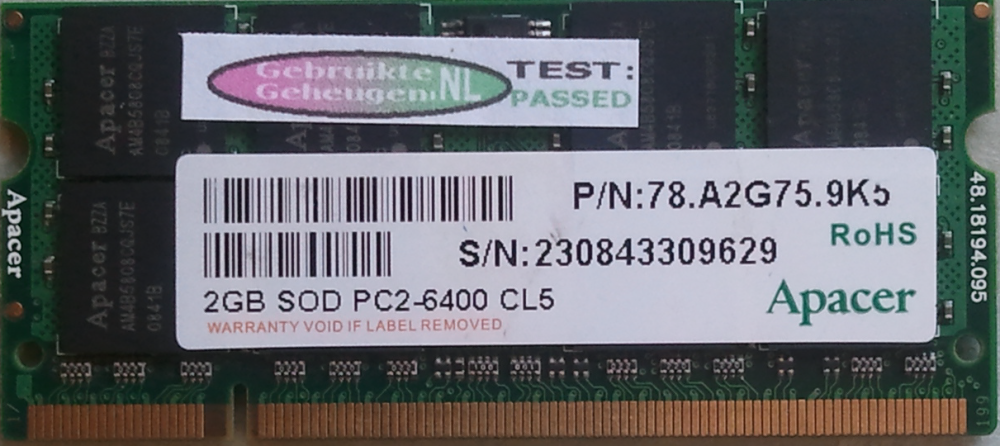 Apacer 2GB DDR2 PC2-6400S 800MHz