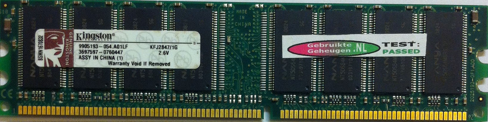 Kingston 1GB DDR PC3200U 400MHz