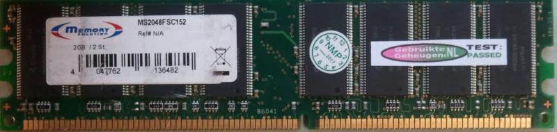 Memory Solution 1GB DDR PC3200U 400MHz