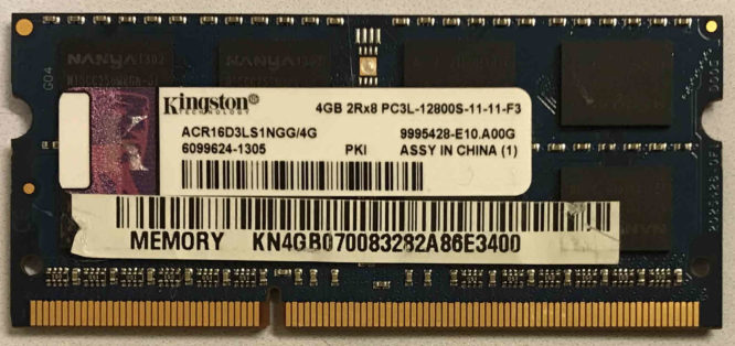 Kingston 4GB PC3-12800S 1600MHz