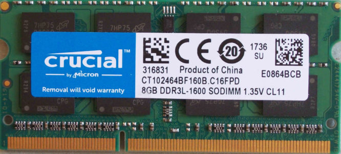 Crucial 8GB PC3L-12800S 1600MHz