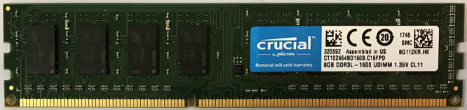 Crucial 8GB PC3L-12800U 1600MHz