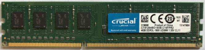 Crucial 4GB PC3L-12800U 1600MHz