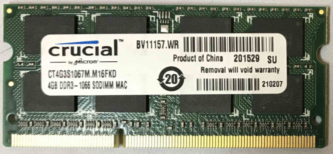 Crucial 4GB PC3-8500S 1066MHz