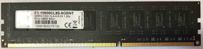 G.Skill 8GB PC3-10600U 1333MHz