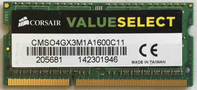 Corsair 4GB PC3-12800S 1600MHz