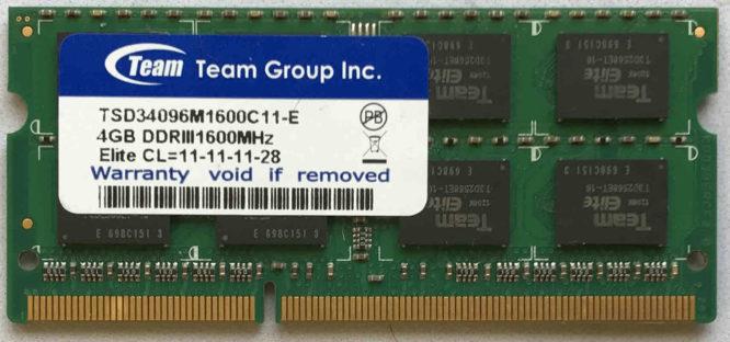 Team Group 4GB PC3-12800S 1600MHz