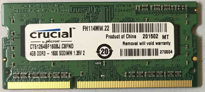 Crucial 4GB PC3L-12800S 1600MHz