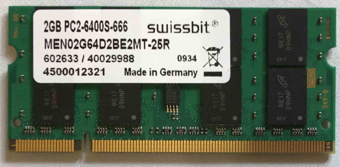 Swissbit 2GB PC2-6400S 800MHz