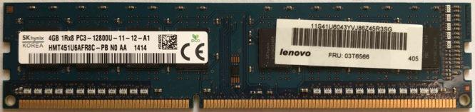 SKhynix 4GB PC3-12800U 1600MHz