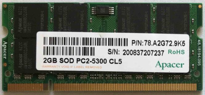 Apacer 2GB PC2-5300S 667MHz