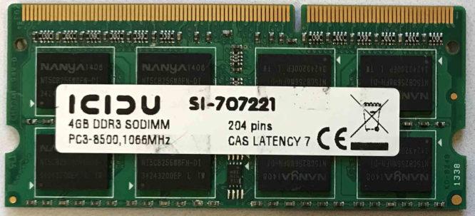 Icidu 4GB PC3-8500S 1066MHz
