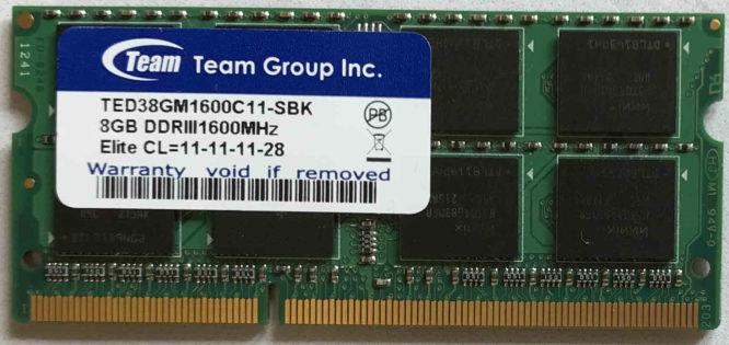 Team Group 8GB PC3-12800S 1600MHz
